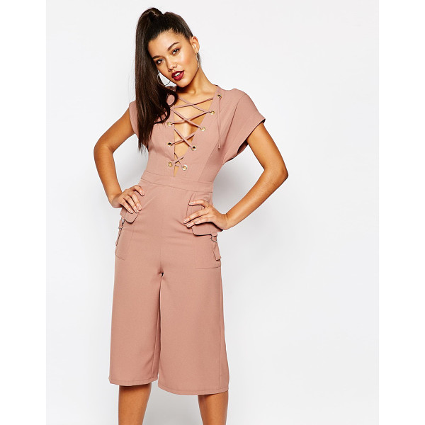 MISSGUIDED Lace up culotte jumpsuit - Jumpsuit by Missguided, Woven stretch fabric, Plunging...
