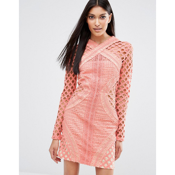 """MISSGUIDED Long Sleeve Lace Cut Out Dress - """"""""Bodycon dress by Missguided, Semi-sheer crochet lace,..."""