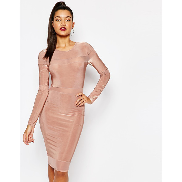 MISSGUIDED Long sleeve mesh panel midi dress - Body-Conscious dress by Missguided, Woven stretch fabric,...