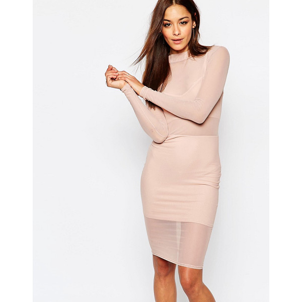 MISSGUIDED Mesh High Neck Bodycon Dress - Midi dress by Missguided, Semi-sheer mesh, High neck,...