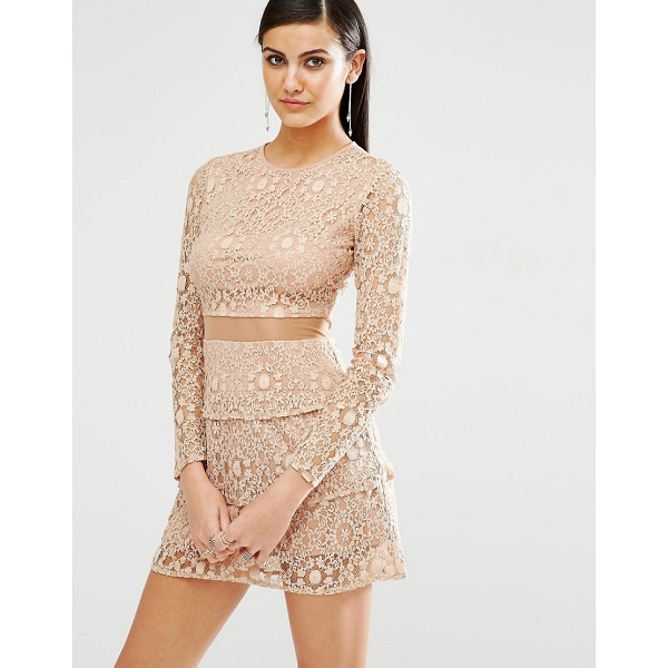 MISSGUIDED Mesh Insert Lace Skater Dress - Dress by Missguided, Lined lace, Round neckline, Tiered...