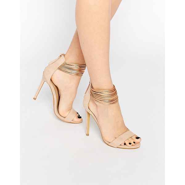 MISSGUIDED Metallic Ankle Strap Barely There - Heels by Missguided, Faux suede upper, Open toe, Metallic...