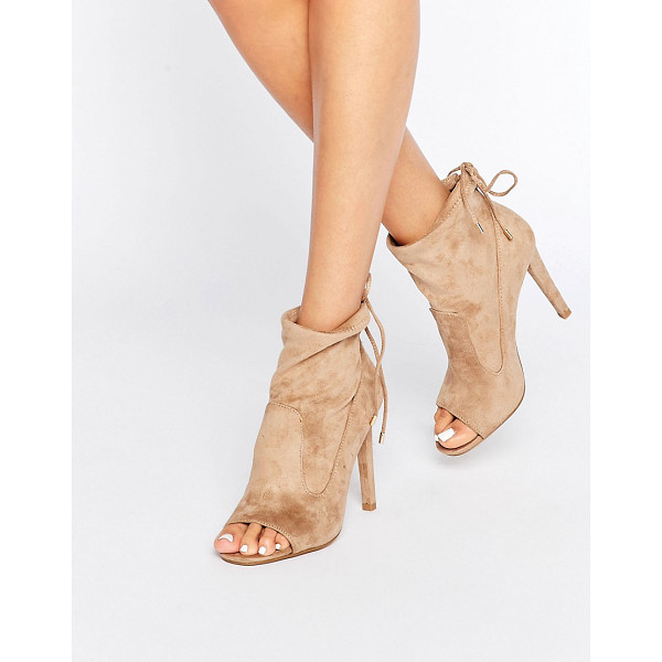 MISSGUIDED Peep Toe Heeled Sock Boot - Boots by Missguided, Faux-suede upper, Panelled design,