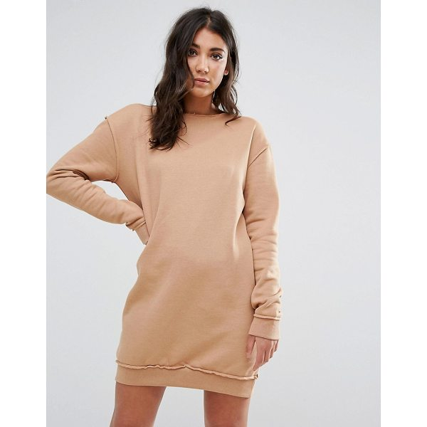 """MISSGUIDED Nude Raw Edge Oversized Sweater Dress - """"""""Dress by Missguided, Soft-touch sweat, Crew neck, Dropped..."""