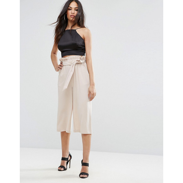"""MISSGUIDED Paperwaist Tie Belt Cullottes - """"""""Culottes by Missguided, Smooth woven fabric, High rise,..."""