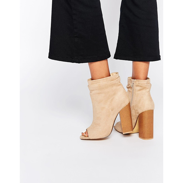 MISSGUIDED Peep toe slouch boot with block heel - Boots by Missguided Faux suede upper Peep toe Layered cuff...
