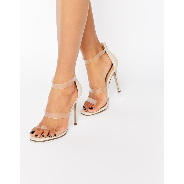 MISSGUIDED Missguided Clear Barley There Heeled Sandal - Sandals by Missguided, Faux-leather upper, Barely there...