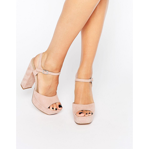 MISSGUIDED Platform Heeled Sandals - Sandals by Missguided, Faux-suede upper, Ankle-strap...