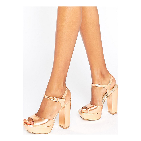 MISSGUIDED Platform Heeled Sandals - Sandals by Missguided, Faux-leather upper, Metallic finish,...