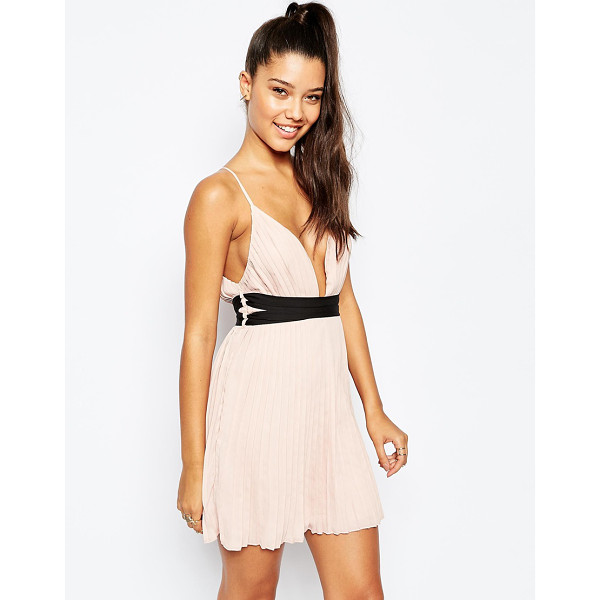 MISSGUIDED Pleated Plunge Neck Pleated Skater Dress - Evening dress by Missguided, Lightweight pleated chiffon,...