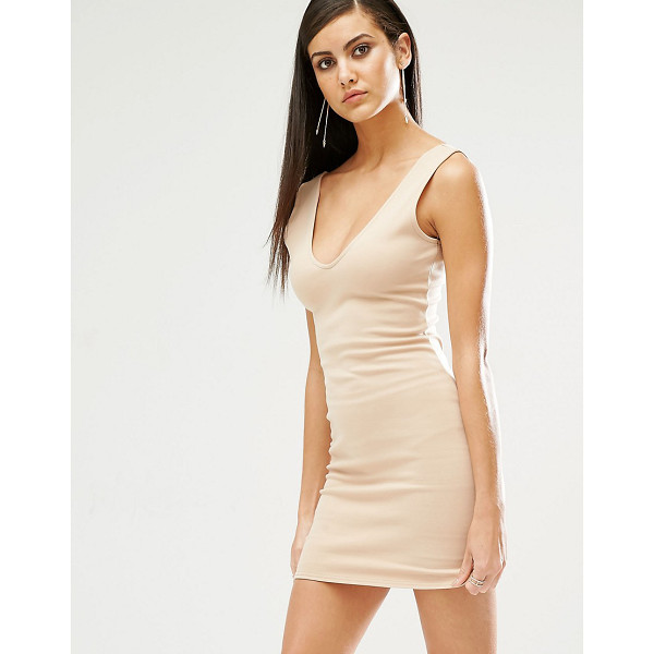 MISSGUIDED Plunge Neck Bodycon Mini Dress - Body-Conscious dress by Missguided, Stretch jersey, Scoop...