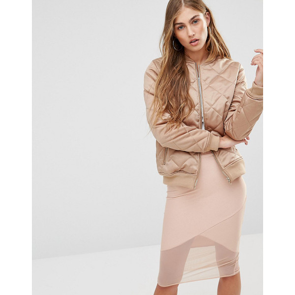 MISSGUIDED Quilted Satin Bomber Jacket - Bomber jacket by Missguided, Quilted satin, Fully lined,...