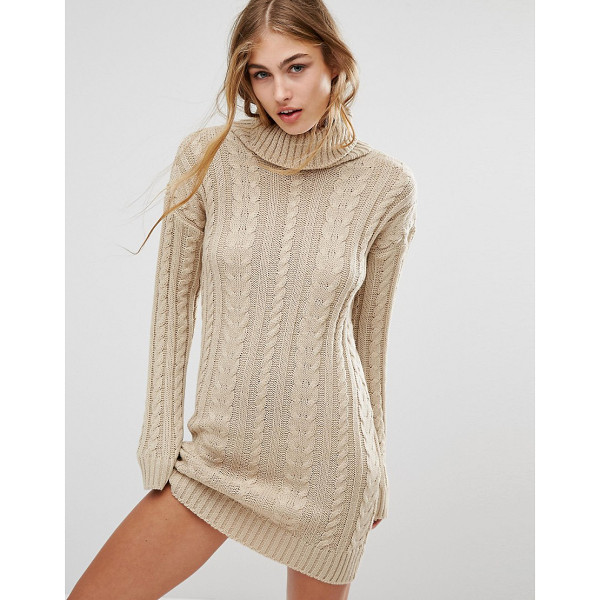 MISSGUIDED Roll Neck Cable Mini Dress - Knit dress by Missguided, Chunky knit, Cable stitch design,...