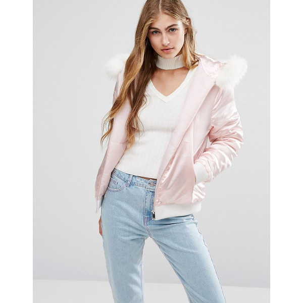 MISSGUIDED Satin Faux Fur Hood Padded Bomber - Bomber jacket by Missguided, Smooth satin fabric, Padded...