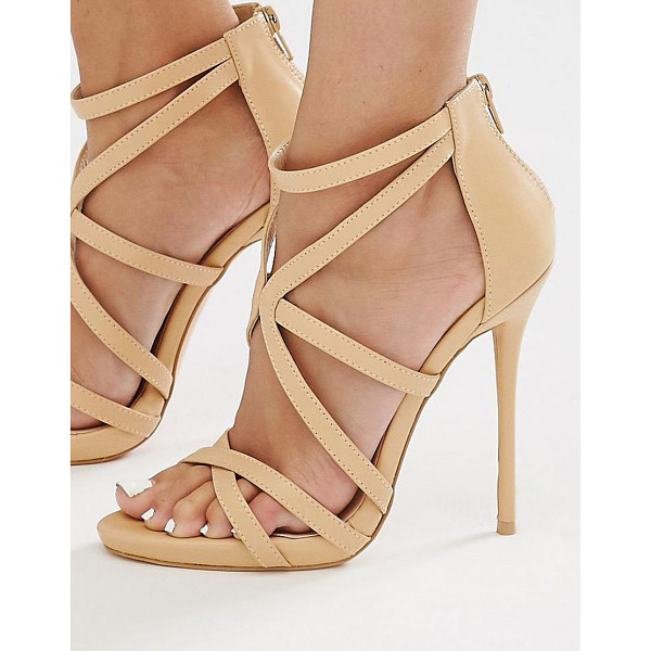 MISSGUIDED Strappy Heeled Gladiator Sandal - Heels by Missguided, Faux leather upper, Zip-back opening,...