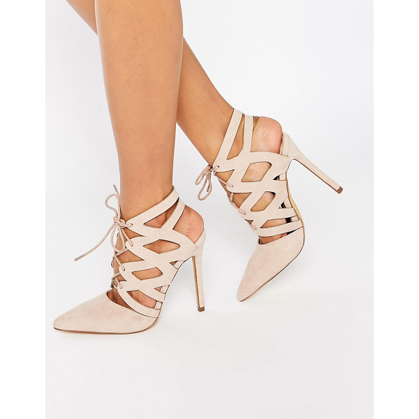 MISSGUIDED Strappy Lace Up Pumps - Heels by Missguided, Leather-look upper, Lace-up closure,...