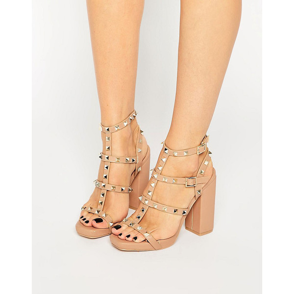 MISSGUIDED Studded Block Heel Sandal - Sandals by Missguided, Faux-leather upper, Open toe,...