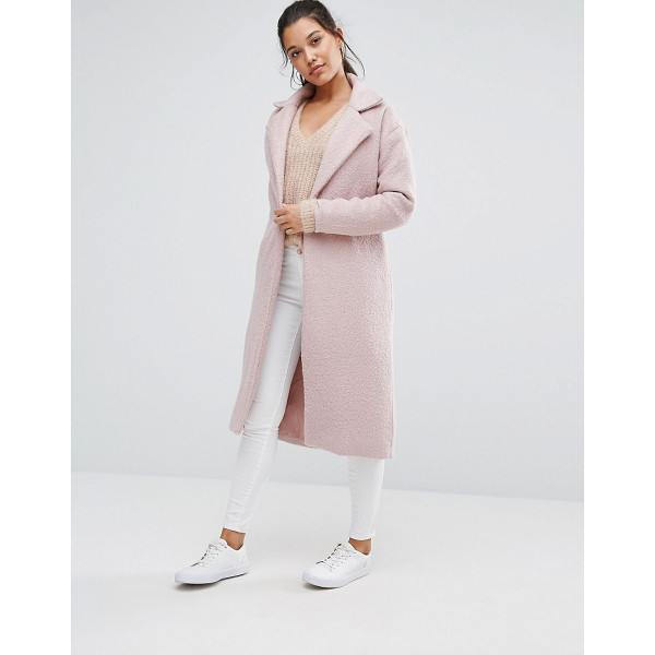 MISSGUIDED Textured Maxi Coat - Coat by Missguided, Textured woven fabric, Notch lapels,...