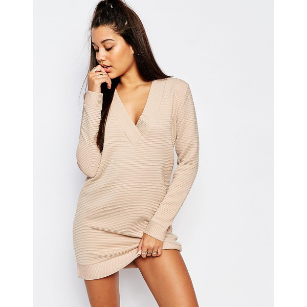 MISSGUIDED V-neck ribbed sweater dress - Dress by Missguided, Heavyweight ribbed jersey, V-neckline,...