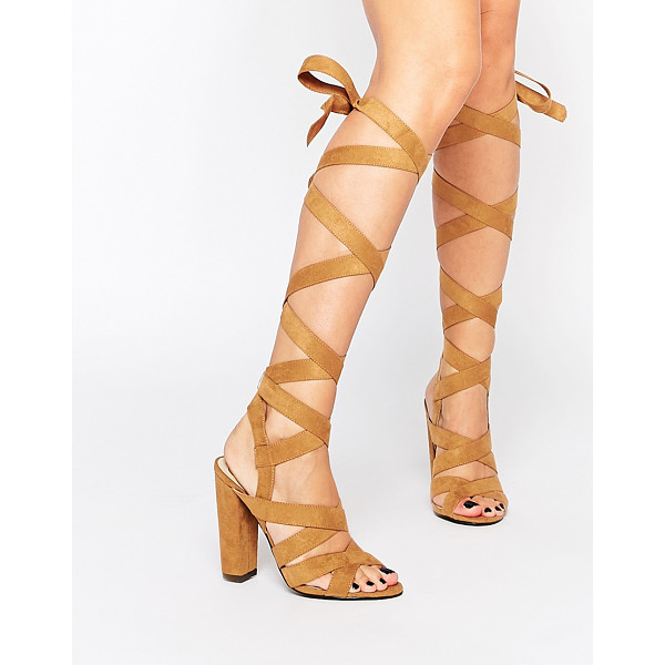 MISSGUIDED Wrap Detail Block Heeled Sandals - Sandals by Missguided, Faux suede upper, Wraparound...