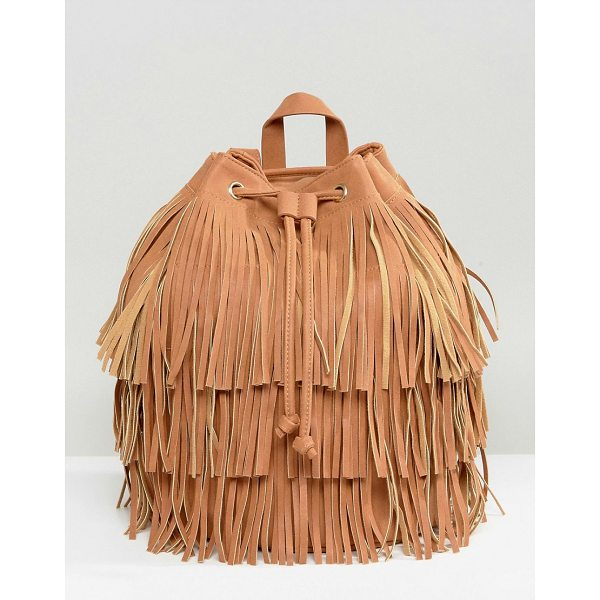 "MONKI Backpack - """"Cart by Monki, Textile outer, Fringe finish, Fully lined,..."
