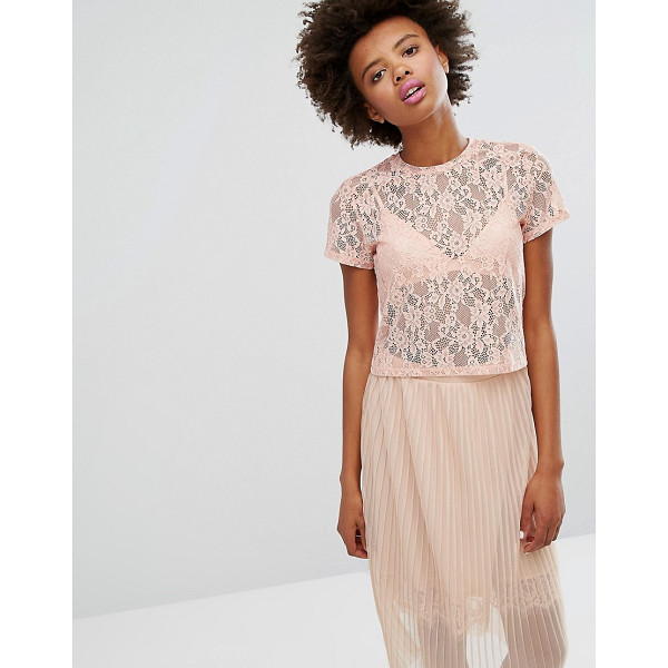 "MONKI Boxy Lace T-Shirt - """"T-shirt by Monki, Sheer floral lace, Crew neck, Regular..."