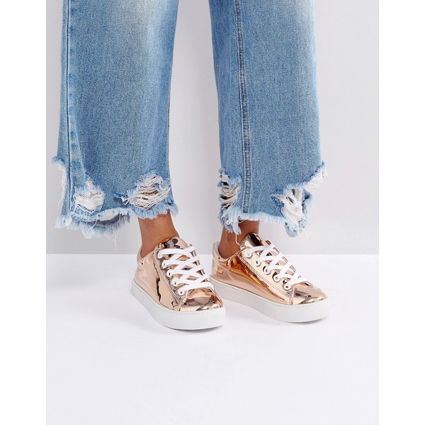 MONKI Metallic High Shine Sneakers - Sneakers by Monki, High-shine metallic upper, Lace-up...