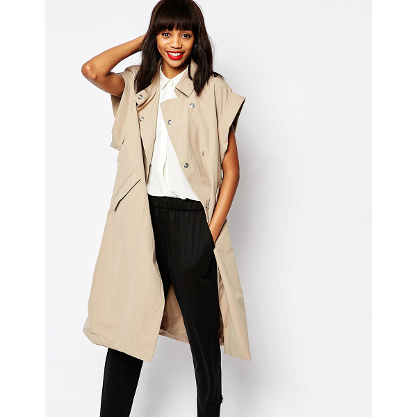 MONKI Oversized Trenchcoat - Coat by Monki, Woven fabric, Point collar, Double breasted,...