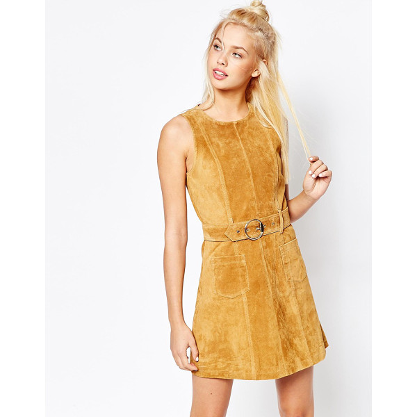 MONKI Real Leather Suede Skater Dress - Dress by Monki, Lined suede, Round neckline, Pin-buckle...