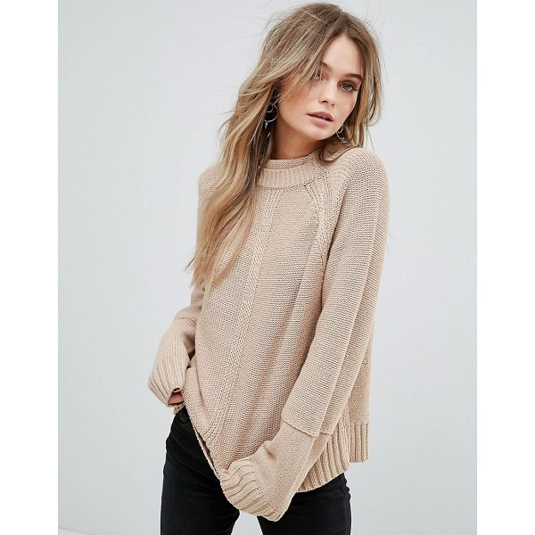 """MOON RIVER Back Slit Detail Sweater - """"""""Sweater by Moon River, Soft-touch knit, High neck, Raglan..."""