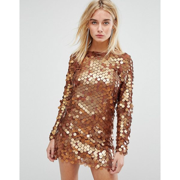 MOTEL Mini Dress In Shimmer Disc Sequin - Bodycon dress by Motel, Sequin-embellished mesh, Fully...