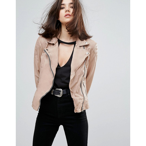 MUUBAA Indus Leather Biker Jacket - Biker jacket by Muubaa, Soft-touch leather outer, Fully...