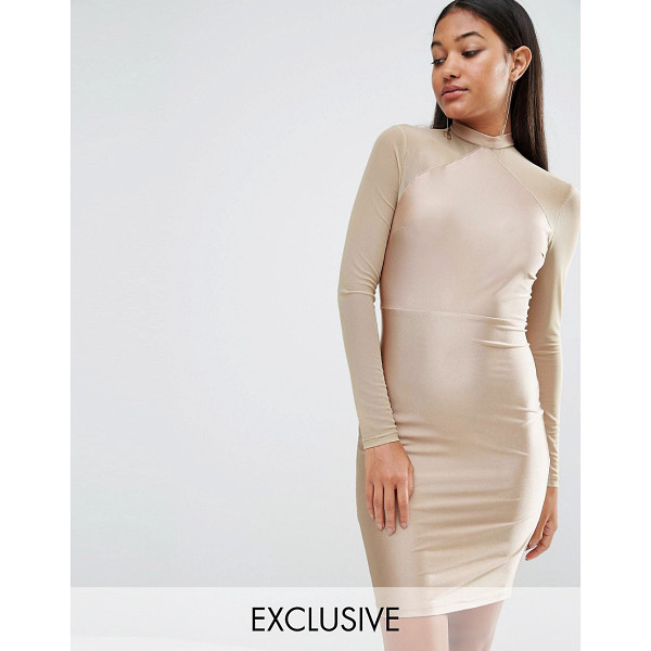 "NAANAA Bodycon Dress With Mesh Sleeves - """"Bodycon dress by NaaNaa, Silky-feel fabric, Mesh sleeves,..."