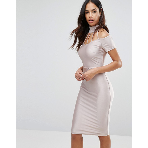 NAANAA Midi Dress with Strap Detail - Dress by NaaNaa, Smooth stretch fabric, High neck, Strap...