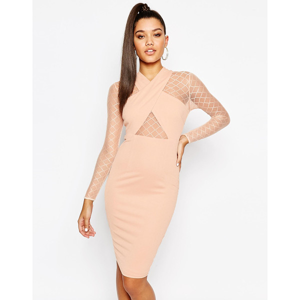 NAANAA Midi Dress with Wrap Front and Mesh Sleeves - Dress by NaaNaa, Smooth knitted fabric, Mesh sleeves, Wrap...