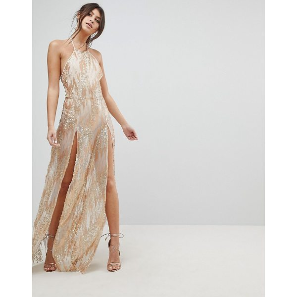 NAANAA Sequin Maxi Dress with Double Thigh Split - Dress by NaaNaa, Partially lined, All-over sequin...