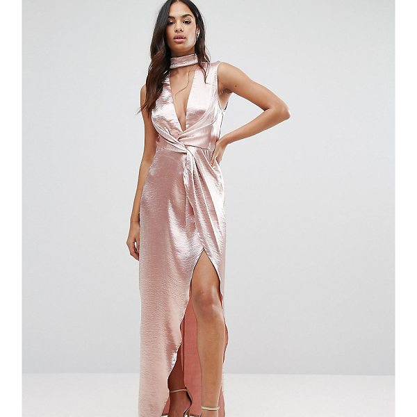 NAANAA Wrap Front Maxi Dress in Hammered Satin - Dress by NaaNaa, Hammered satin fabric, High neck, Plunge...