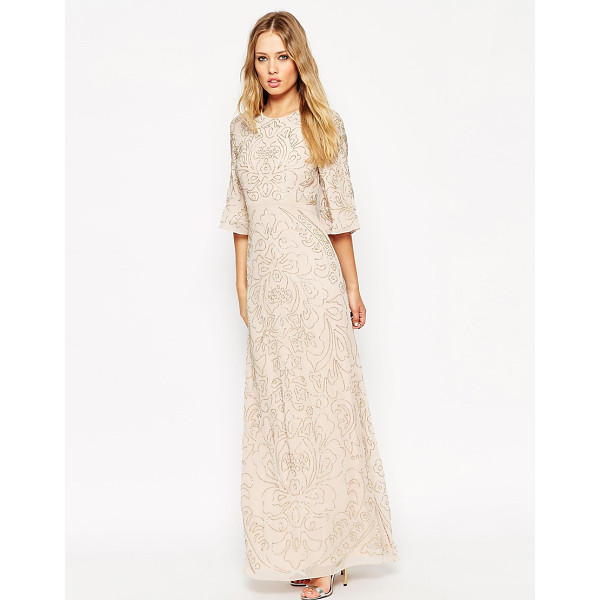 NEEDLE & THREAD Embellished Fleur Fluted Sleeve Maxi Dress - Maxi dress by Needle Thread, Heavyweight lined chiffon,...