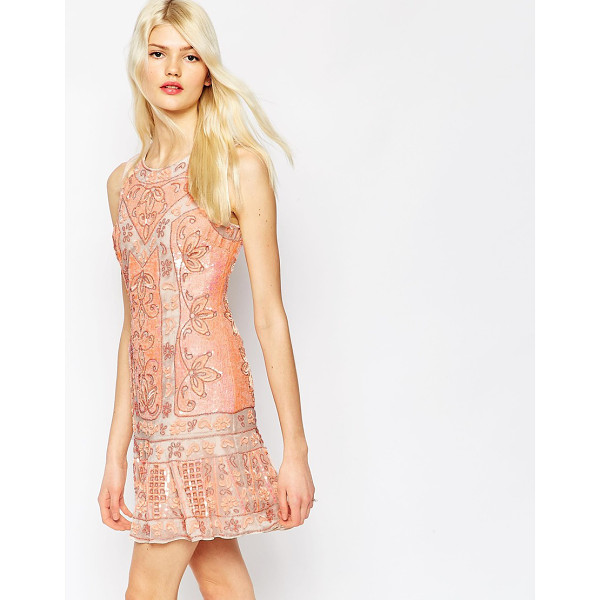 NEEDLE & THREAD Embellished Lace Mini Dress - Party dress by Needle Thread, All-over bead and sequin...