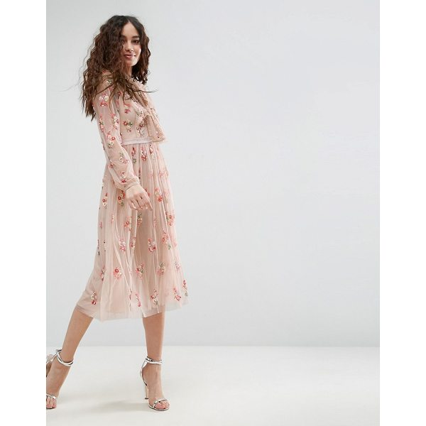 "NEEDLE & THREAD Floral Embellished Long Sleeve Dress with Tie Neck - """"Dress by Needle Thread, Midweight embellished mesh, Slip..."
