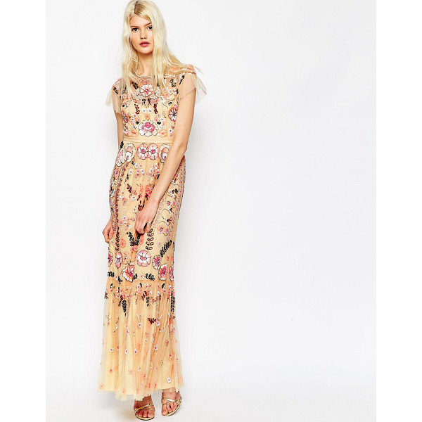 NEEDLE & THREAD Floral Tiered Embellished Maxi Dress - Maxi dress by Needle Thread, All-over bead and sequin...