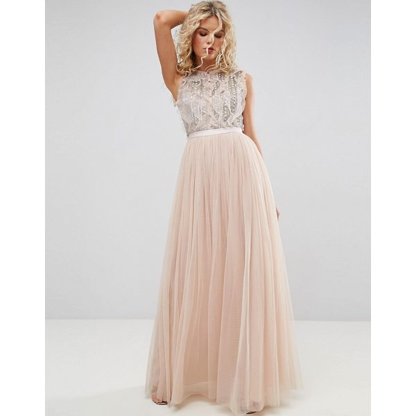 """NEEDLE & THREAD Embellished Gown with Frill Detail - """"""""Maxi dress by Needle Thread, Beaded and sequin..."""