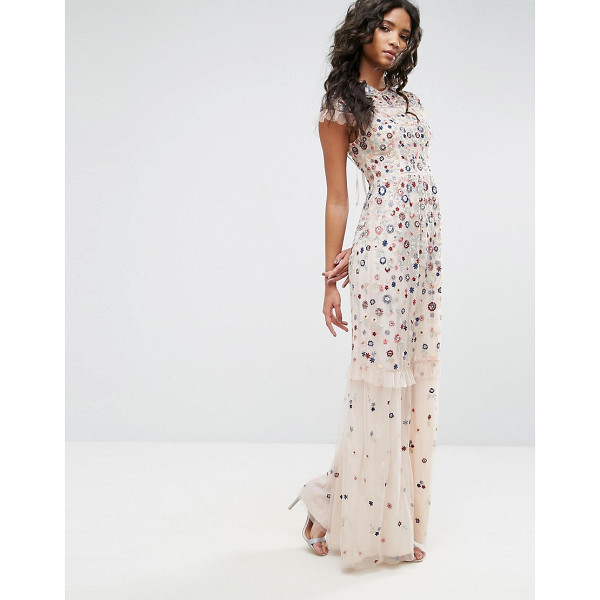 "NEEDLE & THREAD Posy Embroidered Gown - """"Maxi dress by Needle Thread, Midweight semi-sheer mesh,..."