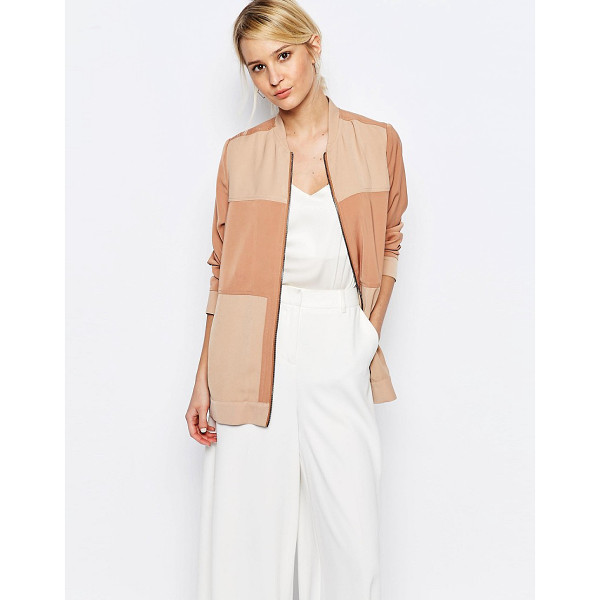 NEON ROSE Paneled Bomber Jacket - Bomber jacket by Neon Rose, Soft-touch woven fabric,...