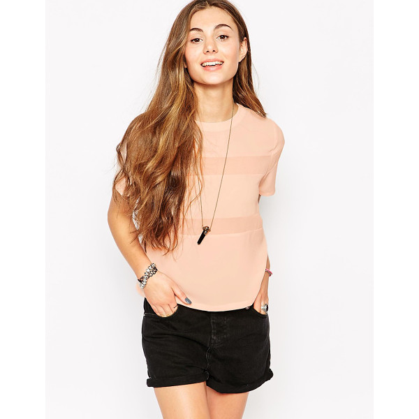 NEON ROSE T-shirt with sheer insert - Top by Neon Rose Lightweight, lightly textured fabric Round...