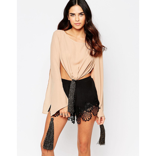 NEVER FULLY DRESSED Tie front top - Top by Never Fully Dressed, Woven fabric, Crew neckline,...
