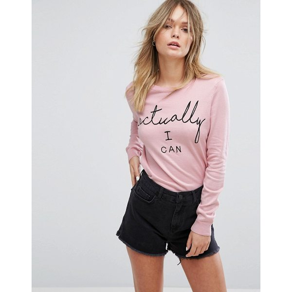 """NEW LOOK Actually I Can Sweater - """"""""Sweater by New Look, Lightweight knit, Round neck, Slogan..."""