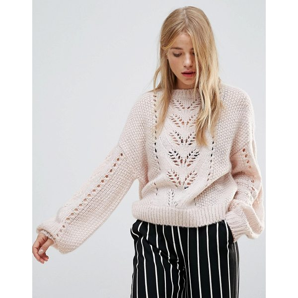 NEW LOOK Balloon Sleeve Knit Sweater - Sweater by New Look, Soft-touch knit, Pointelle design,...