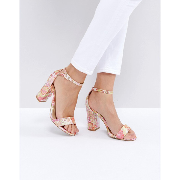 NEW LOOK Brocade Block Heeled Sandals - Heels by New Look, Embroidered textile upper, All-over