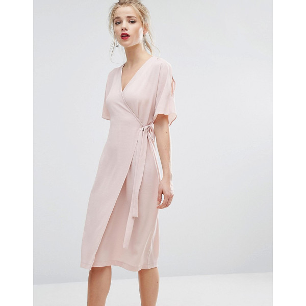 """NEW LOOK Cold Shoulder Wrap Midi Dress - """"""""Dress by New Look, Lightweight textured fabric, Wrap..."""
